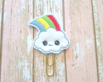 Cloud planner clip, rainbow planner clip, unicorn planner clip, felt planner clip, cm planner clip, planner accessories, bookmark, d2