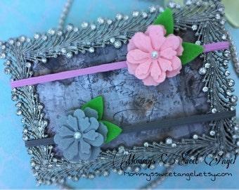 Pick 2 Felt flower headband, cherry blossoms headband, baby photo prop