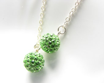 Long Green Silver Dangle Earrings Ball Sphere Earrings Disco Ball Green Rhinestones Uner 25 Bright Green Globe Gift for Women Simple Jewelry