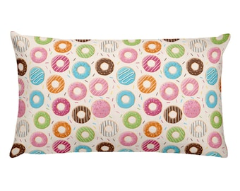 Rectangular Pillow Frosted Donuts - Sweet Throw Pillow - Pastry Lover Cushion - Cute Dessert Pillow - Baker Chef Gift