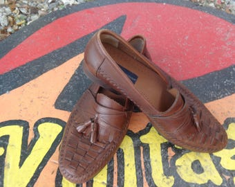 VINTAGE 1980's Men's Brown Tasseled Loafers by Giorgio Brutini - available