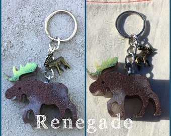 Moose glitter handmade keychain Alaska Colorado Maine mountains