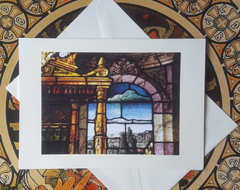 Castle Window - Fine Art Note Card of Antique Stained Glass Window, Greeting Card, Birthday Card, Blank Greeting Card, Thank You Card