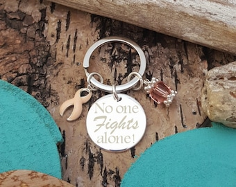 PE-3 P9 No One Fights Alone Keychain, Uterine Cancer, Endometrial Cancer Awareness