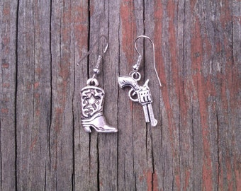 Mismatched Cowgirl Earrings-1 Silver-tone boot & 1 Silver-tone Pistol Gun Western Rodeo