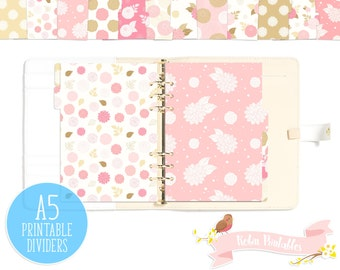Pink and Gold Dahlia Flowers Printable Planner Divider Tabs / Dashboard fits any A5 Organizer like KikkiK or Filofax. Personal Use PDF