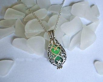 Sea glass locket necklace. Green  teardrop locket. Sea glass jewelry.