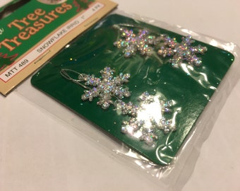 4 small silver with glitter snowflake ornaments, 20 mm (A15)