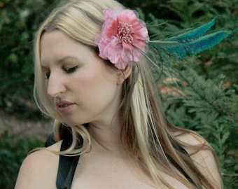 Tribal Fusion Fascinator - Alligator Clip - Dusty Pink Dahlia - Peacock Sword Feathers - Burlesque - Steampunk