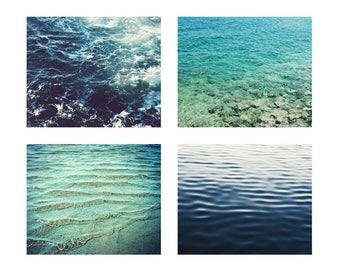 35% off - Ocean print set - beach wall art print set - blue wall art - print set of 4 - aqua turquoise indigo water - nautical beach art