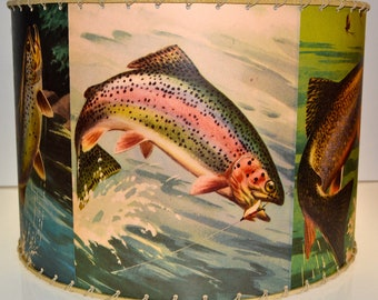 Retro TROUT FISHING Lamp Shade 14 x 14