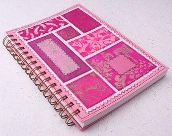Dot Grid Journal A5 Notebook Bohemian Soul Pink / Recycled Planner / Spiral bound notebook / dot journal / Pink journal / dot grid notebook