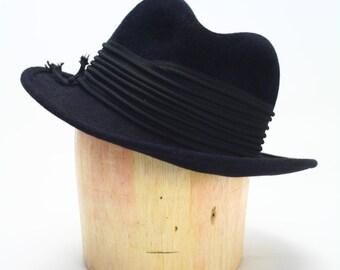 Black Velour Fur Felt Wide Brim Fedora Hat with Black Cord Wraparound Trim- Mens Hats/Womens Hats/Millinery/Penny Hats