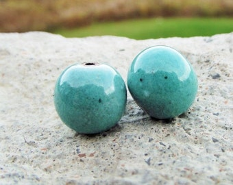 Enameled blue beads Turquoise Beads for jewelry making Artisan Beads Plus