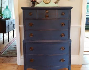 SOLD***Upright, tall dresser, black, blue, men's dresser, shabby cottage furniture