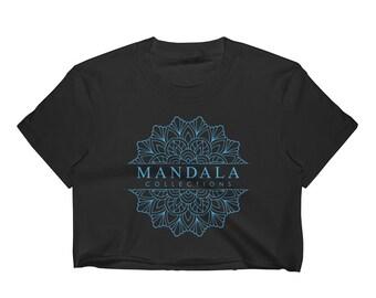 Mandala Collections Black / Light Blue Women's Crop Top / Short Sleeve Cropped T-Shirt #039849