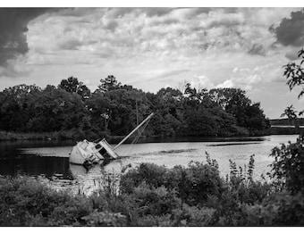 Shipwrecked bayou swamp black and white Landscape