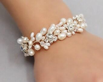 Wedding Jewelry Full Freshwater Pearl Bracelet with Rhinestones