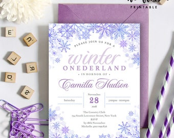 Winter Onederland Birthday Invitation | 5x7 | Editable PDF File | Instant Download | Personalize at home with Adobe Reader