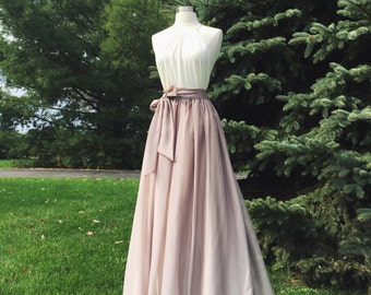 SWISS COFFEE/ BEIGE chiffon skirt, bridesmaid maxi skirt, floor length, tea length empire waist, maxi skirt