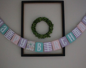 Happy Birthday Banner / Pink, Teal, Purple, Stripes & Castles / Princess Party / Girls Birthday / Party Decor