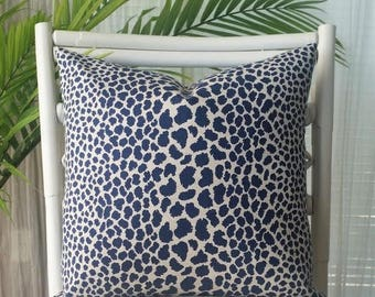 P Kaufmann Leopard Cheetah Animal Print Blue Navy Indigo Pillow Cover