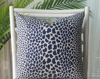 P Kaufmann Leopard Cheetah Animal Print Blue Navy Indigo Pillow Cover
