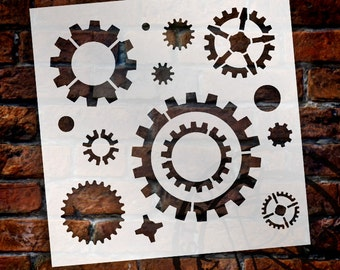 Industrial Gears - Pattern Stencil - Select Size - STCL1436 - by StudioR12