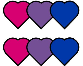 "Bisexual Hearts (set of 5 stickers) 2""x2"""