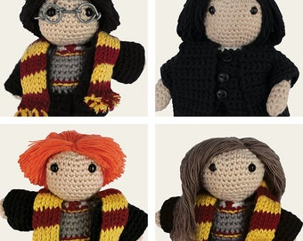 Harry Potter Pack: Harry, Hermione, Ron Weasley & Severus Snape. Amigurumi Pattern PDF, DIY, Crochet, Doll, Geek, Gift, Instant download