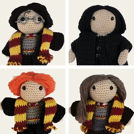 Harry Potter Pack: Harry, Hermione, Ron Weasley & Severus Snape. Amigurumi Pattern PDF.