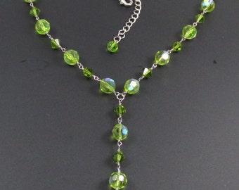 Green Crystal Necklace, Crystal Necklace, Lavalier Necklace, Green Necklace, Y Necklace
