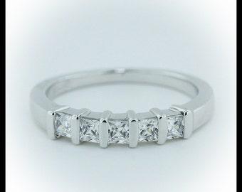 Princess Cut Diamond Wedding Band Bar Set 5 Stone