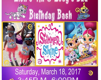 Digital Instant Download, Shimmer,  Shine, Shimmer and Shine, Party, Invitations