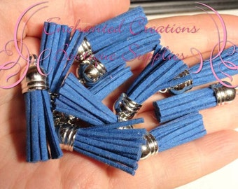 38mm Royal Blue Faux Suede Tassel Charms With Silver Top, Graduation Gift, End of School, DIY Keychain, Necklace, Bracelet, Earrings