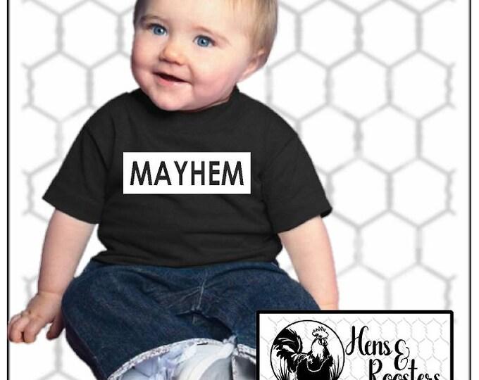 MAYHEM T-Shirt for Boys or Girls / Matches Mother of Mayhem T-Shirt / Infant, Toddler, Youth Unisex T-Shirt, (R3321/22,G2000B) #1358