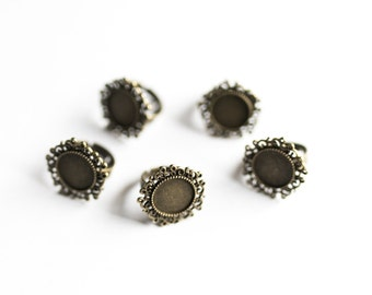 25 Bronze Rings - WHOLESALE - Holds 14mm Cabochons - Vintage - Adjustable - 24mm - Ships IMMEDIATELY from California - A521b