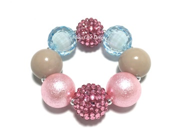 Toddler or Girls Pink, Taupe and Blue Chunky bracelet - Spring Pink Chunky Bracelet - Unicorn Bracelet - Ice Cream Chunky bracelet - Mermaid