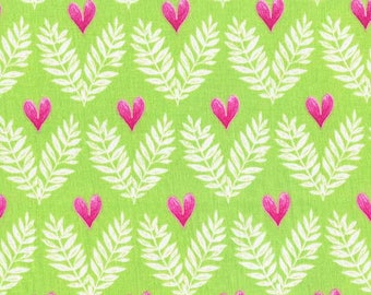 Michael MIller'sBig Love pattern  is blooming with pink heart flowers green background
