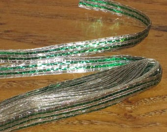 Vintage Christmas Package Gift Wrap Trim Green Silver Metallic Holiday Decorations Wired