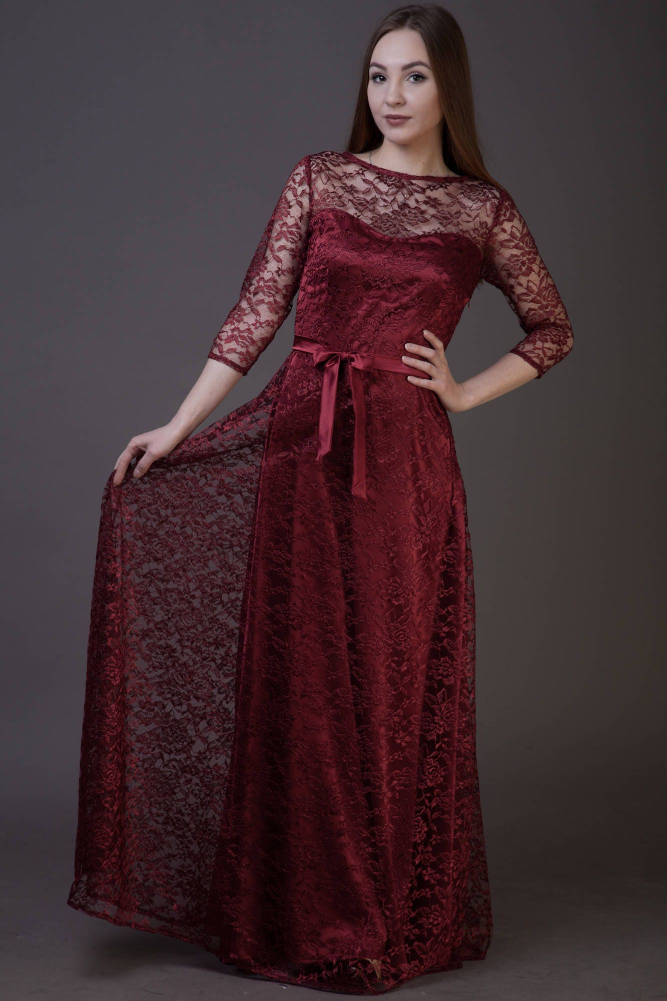 Lace red wine bridesmaid dress long with sleeves formal zoom ombrellifo Gallery