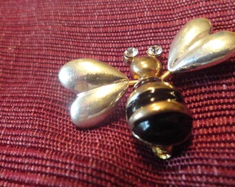 BEE Brooch Vintage Trembler Rhinestone Eyes