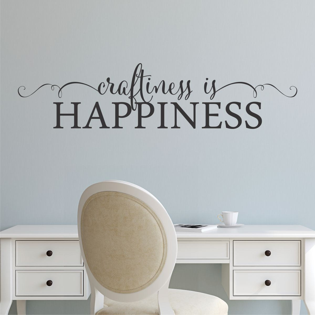 Crafting Quotes Fair Wall Quote Decal Craftiness Is Happiness Craft Room Creative