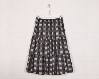 Vintage Southwest Skirt Southwestern Skirt Western Skirt Tribal Print Skirt Tiered Skirt Midi Skirt Maxi Skirt Boho Hippie Gray 70s 80s M L