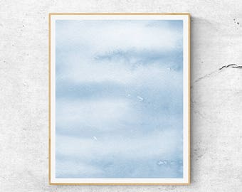 Blue Watercolor Abstract Art Print, Abstract Watercolor Print, Abstract Sky Art, Fine Art Print, Modern Blue Watercolor Art Print,