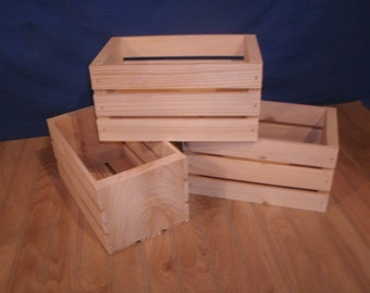 """5 -wooden crates, 10"""" wood crate, unfinished storage crate, wood storage crate, wedding crate, reception crate, wood bx, crate"""