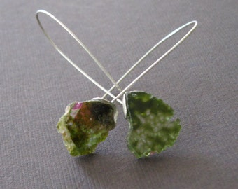 Raw Pink and Green Watermelon Tourmaline Sterling Earrings Primitive Modern