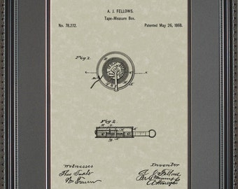Tape Measure Patent Art Construction Builder Gift F8272
