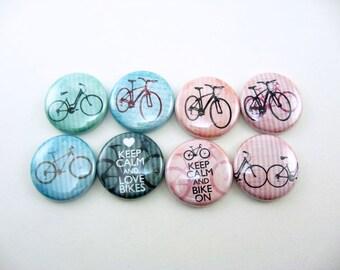 4 bike fridge magnets, cute fridge magnet set, pin back buttons, wine charms, refrigerator magnets, gift for her, wedding favor /1222