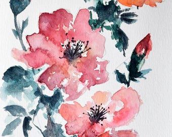 Original Watercolor Flower Painting, Red Poppy, Floral Art 6x8 Inch